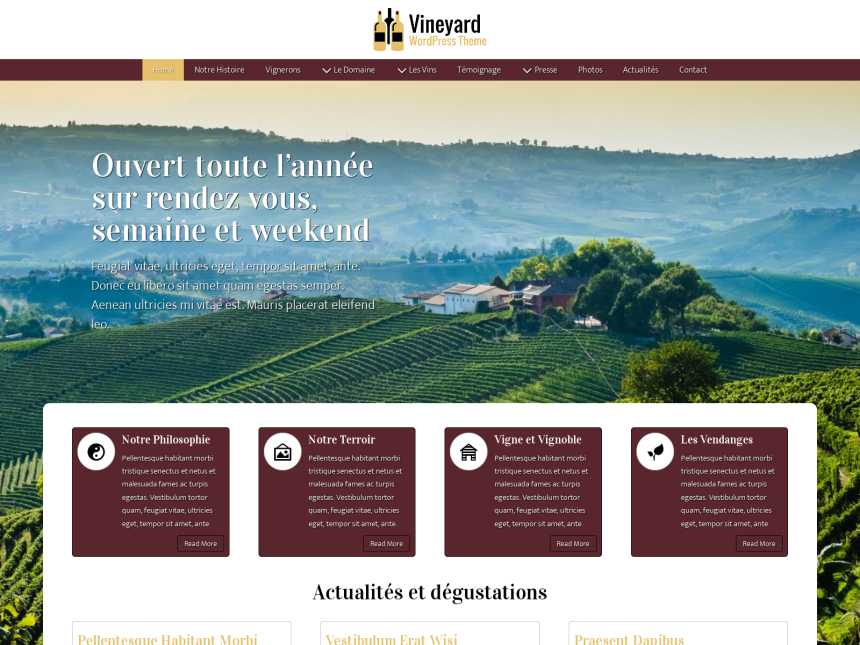 desktop screenshot of the WordPress theme 'Vineyard Wordpress Theme'