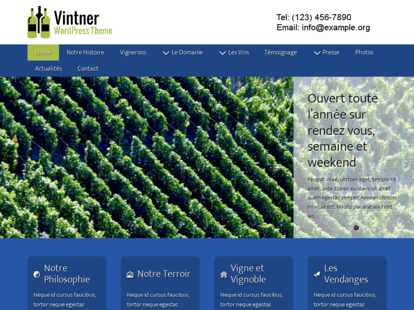 landscape tablet screenshot of WordPress theme 'Vintner Wordpress Theme'