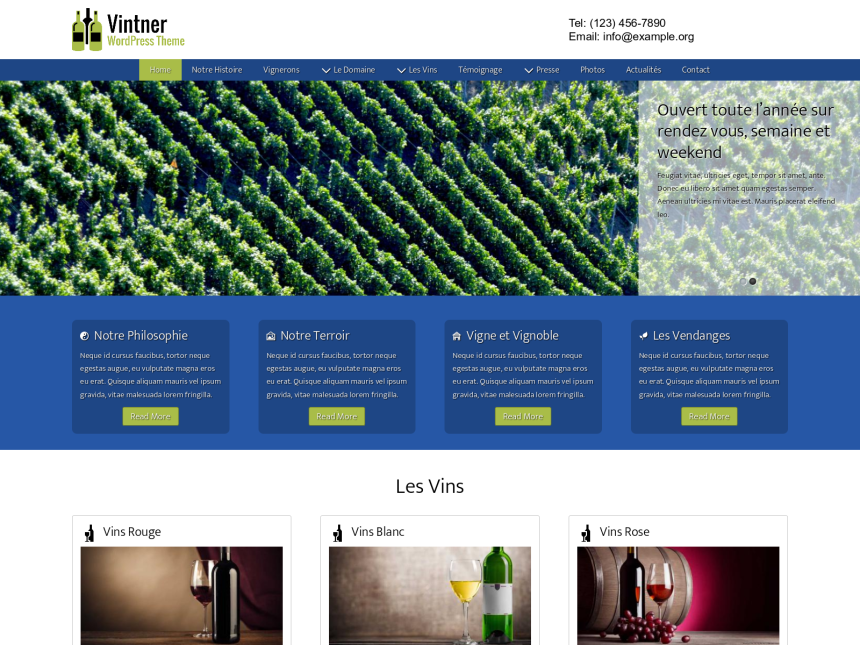 desktop screenshot of the WordPress theme 'Vintner Wordpress Theme'