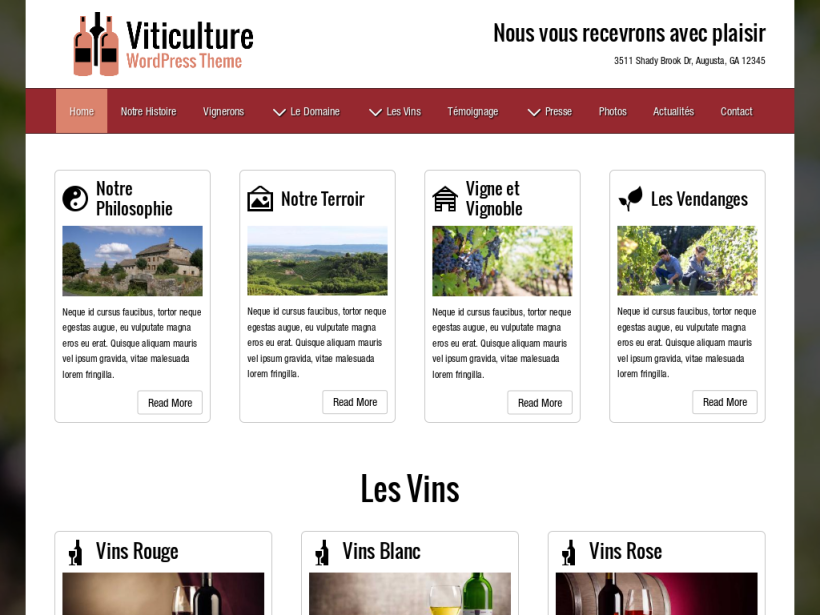 landscape tablet screenshot of WordPress theme 'Viticulture Wordpress Theme'