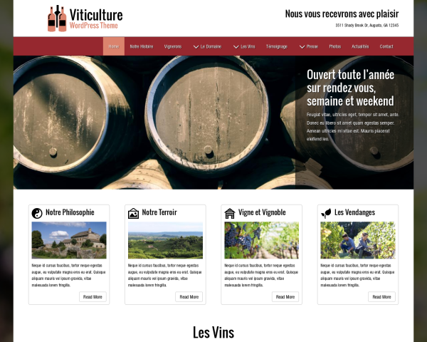Desktop screenshot of the Viticulture Wordpress Theme