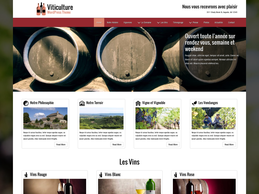 desktop screenshot of the WordPress theme 'Viticulture Wordpress Theme'