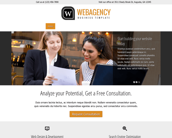 Desktop screenshot of the Web Agency Wordpress Theme