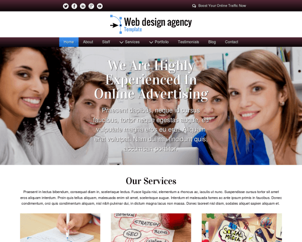 Desktop screenshot of the Web Design Agency Template