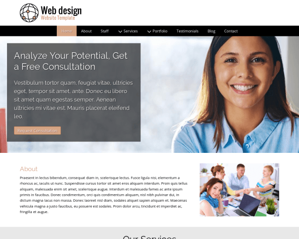 Desktop screenshot of the Web Design Website Template