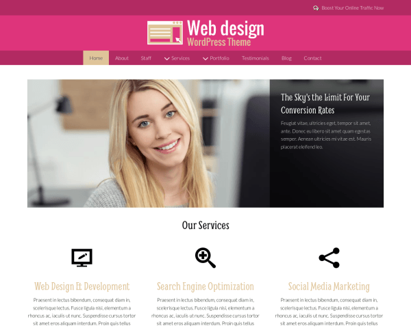 Desktop screenshot of the Web Design Wordpress Theme