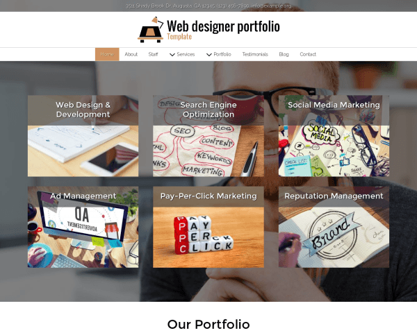 Desktop screenshot of the Web Designer Portfolio Template