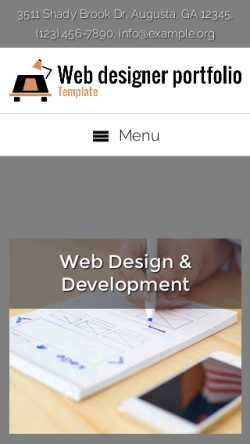 mobile phone screenshot WordPress theme 'Web Designer Portfolio Template'