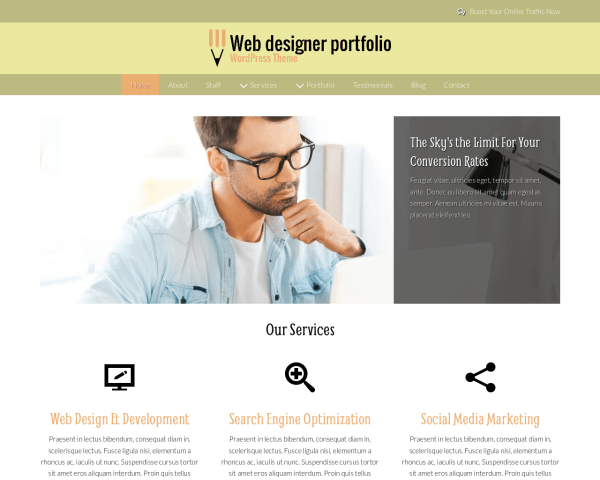 Desktop screenshot of the Web Designer Portfolio Wordpress Theme