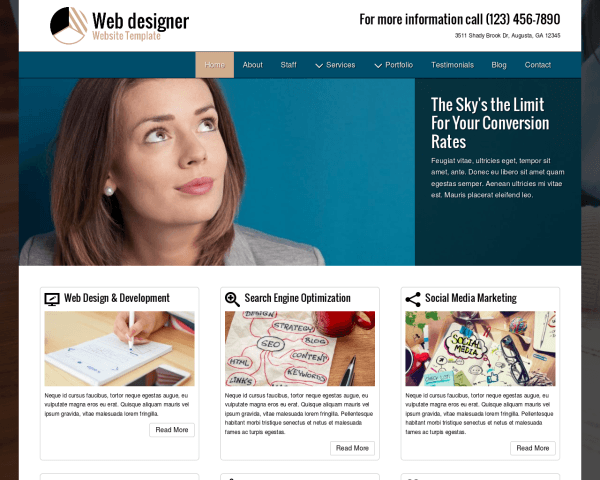 Desktop screenshot of the Web Designer Website Template