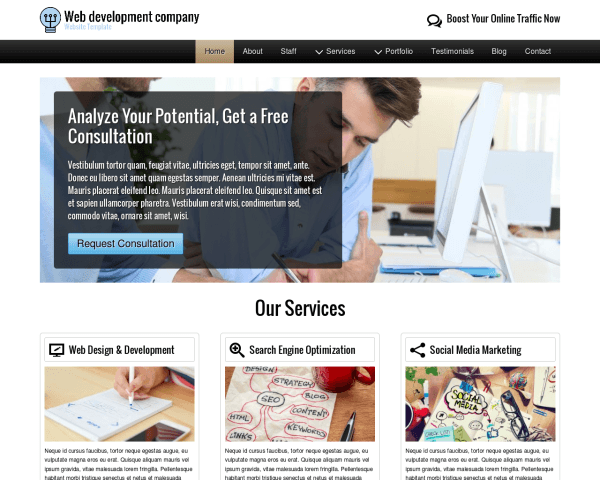 Desktop screenshot of the Web Development Company Website Template