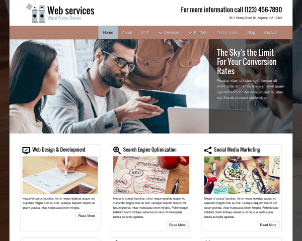Desktop screenshot of the Web Services Wordpress Theme