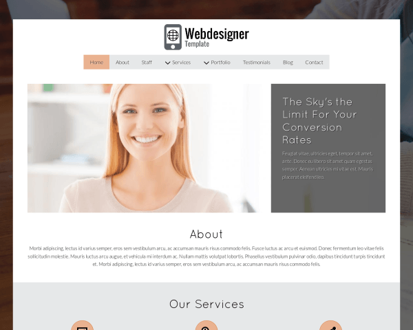 Desktop screenshot of the Webdesigner Template
