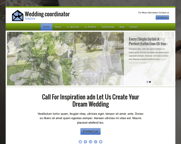 Desktop screenshot of the Wedding Coordinator Template