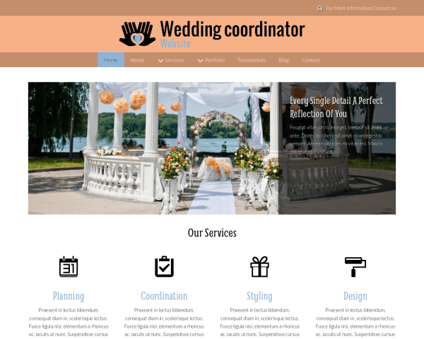 Desktop screenshot of the Wedding Coordinator Website