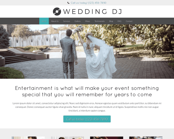 Wedding DJ WordPress theme thumbnail (desktop screenshot)