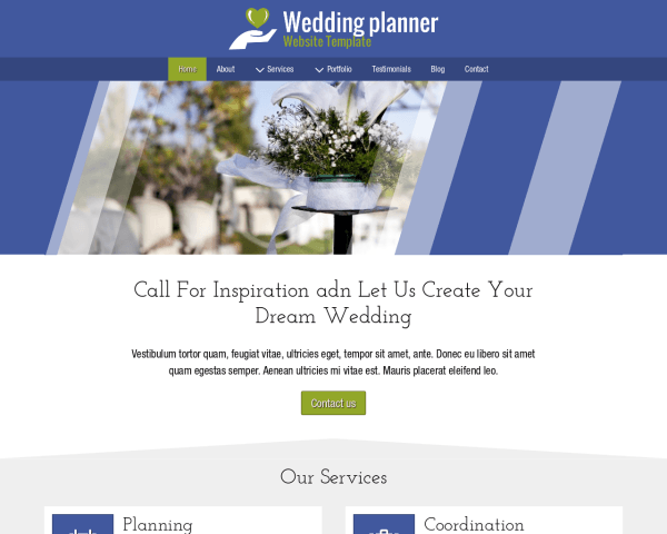 Desktop screenshot of the Wedding Planner Website Template