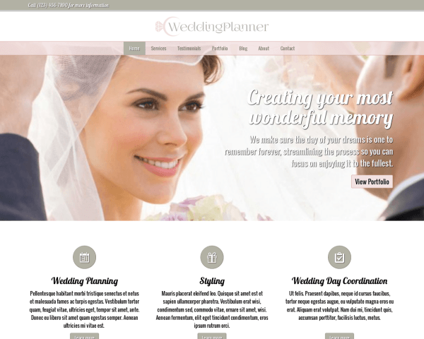 Desktop screenshot of the Wedding Planner Wordpress Theme