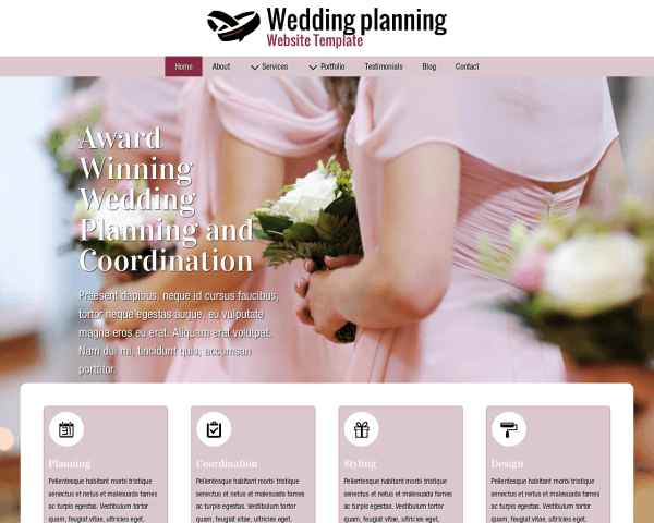 Desktop screenshot of the Wedding Planning Website Template