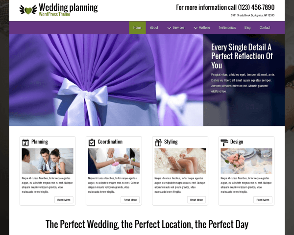 Desktop screenshot of the Wedding Planning Wordpress Theme