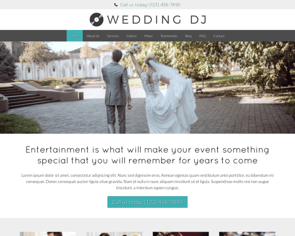 laptop screenshot WordPress theme 'Wedding DJ WordPress theme'