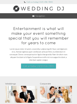 tablet screenshot WordPress theme 'Wedding DJ WordPress theme'
