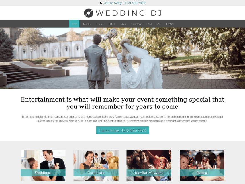 desktop screenshot of the WordPress theme 'Wedding DJ WordPress theme'