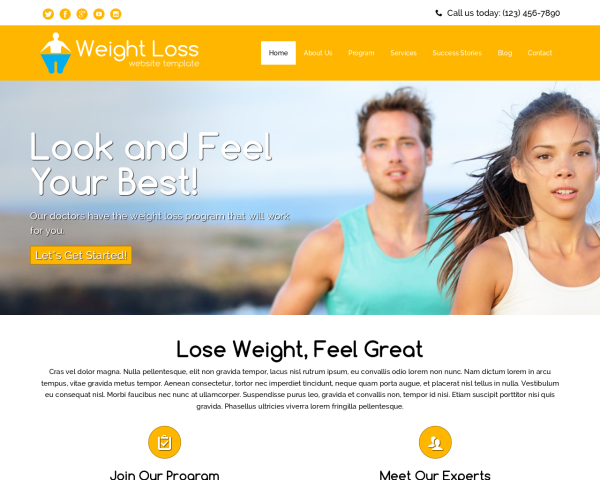 laptop screenshot WordPress theme 'Weight Loss Website Template'