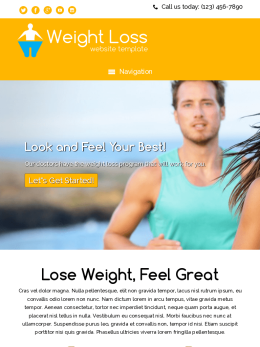 tablet screenshot WordPress theme 'Weight Loss Website Template'