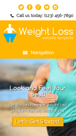 mobile phone screenshot WordPress theme 'Weight Loss Website Template'