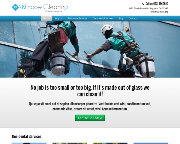 Desktop screenshot of the Window Cleaning Wordpress Theme