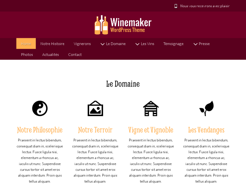 landscape tablet screenshot of WordPress theme 'Winemaker Wordpress Theme'