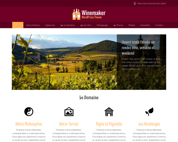 Desktop screenshot of the Winemaker Wordpress Theme