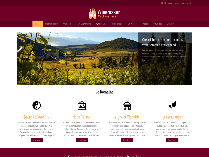 desktop screenshot of the WordPress theme 'Winemaker Wordpress Theme'
