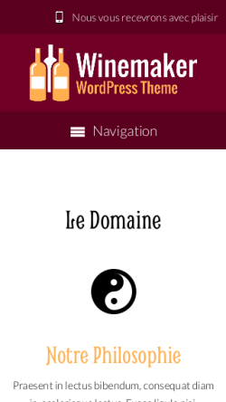 mobile phone screenshot WordPress theme 'Winemaker Wordpress Theme'