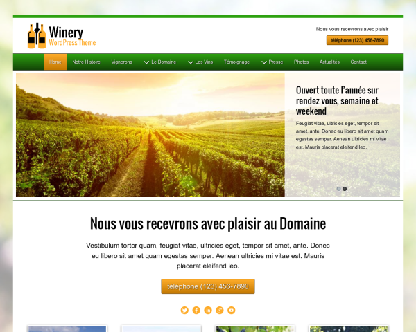 Desktop screenshot of the Winery Wordpress Theme