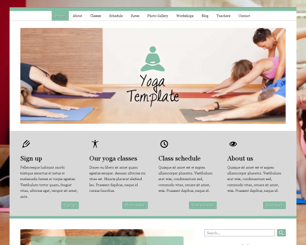 laptop screenshot WordPress theme 'Yoga WordPress Theme'