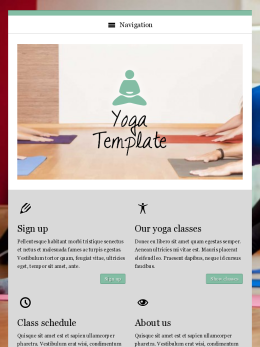 tablet screenshot WordPress theme 'Yoga WordPress Theme'