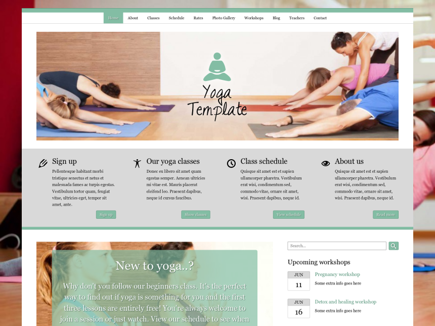 desktop screenshot of the WordPress theme 'Yoga WordPress Theme'