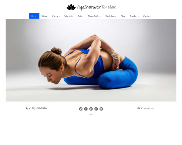 laptop screenshot WordPress theme 'Yoga Instructor WordPress Theme'