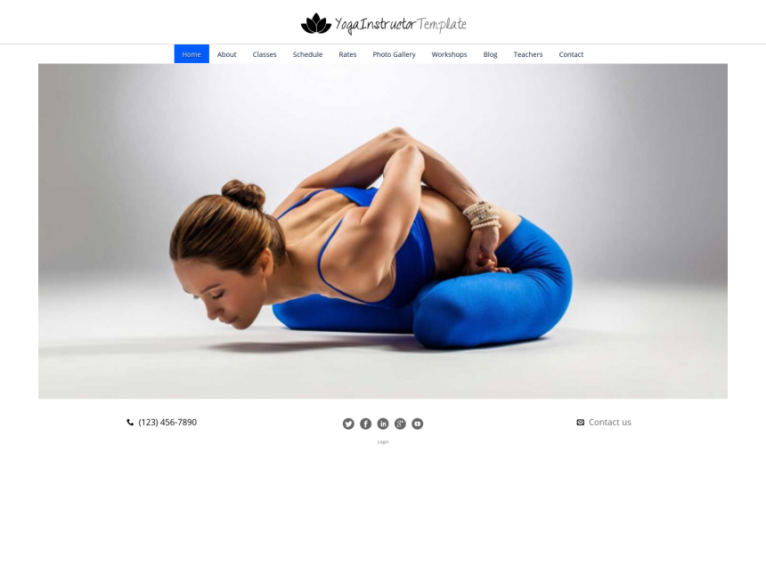 desktop screenshot of the WordPress theme 'Yoga Instructor WordPress Theme'