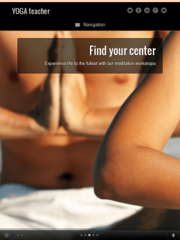 tablet screenshot WordPress theme 'Yoga Teacher WordPress Theme'