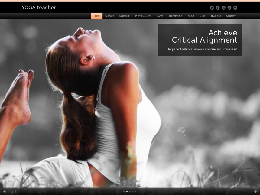 desktop screenshot of the WordPress theme 'Yoga Teacher WordPress Theme'