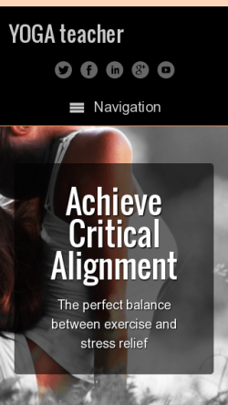 mobile phone screenshot WordPress theme 'Yoga Teacher WordPress Theme'
